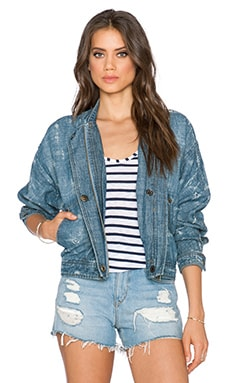 Free People Tattered Tennis Jacket in Indigo