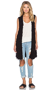 Free People Rolling Stone Furry Vest in Black