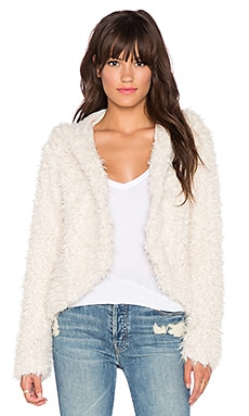 Free People Hooded Faux Fur Fluffy Coat in Ivory