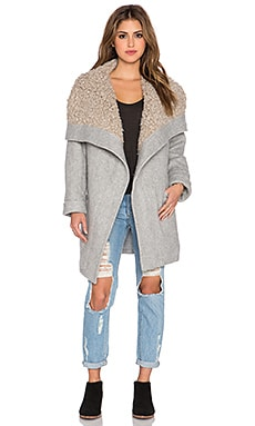 Free People Cozy Belted Wrap Coat in Grey