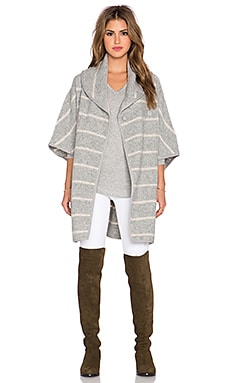 Free People Blanket Poncho Coat in Grey & Oatmeal Combo