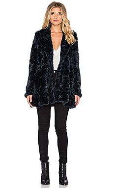 Free People Swingy Faux Fur Coat in Midnight Blue