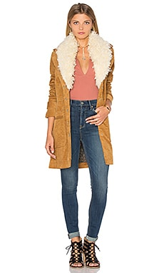 Free People Lady Lane Fur Collar Jacket in Honey