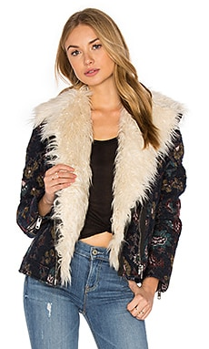 Jaquard Wool & Faux Fur Jacket in Marineblau