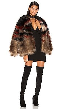 Scarlet Faux Fur Jacket in Red Combo