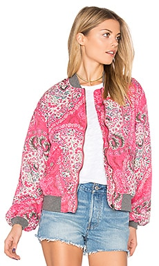 Printed Bomber in Pink