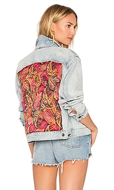 Paisley Quilted Denim Jacket in Light Denim