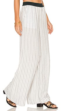Wide Leg Pull On Pant in Black & White