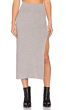 Free People Felix Rib Maxi Skirt in Light Grey