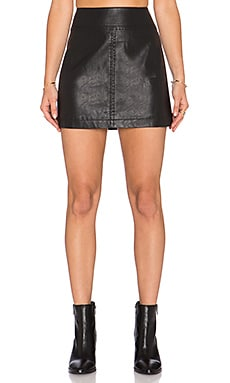 Free People Zip it to Vegan Leather Mini Skirt* in Black