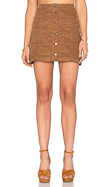 Free People Come A Little Closer Skirt in Coffee