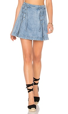 Free People Denim Lace Up Skirt in Light Denim