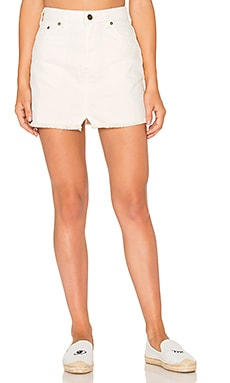 Step Up Denim Mini Skirt in Ivory