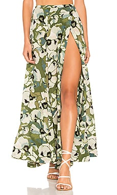 Hot Tropics Maxi Skirt in Moss