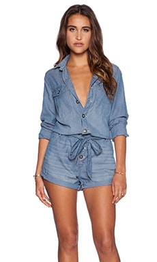 Free People Drapey Romper in Chambray