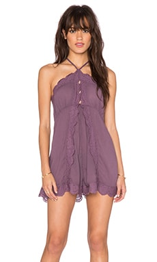 Free People Lightly Gauze Run the Heart Romper in Washed Plum