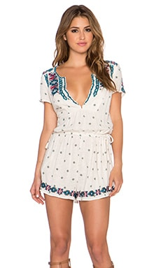 Free People Song For You Embroidered Romper in Tea