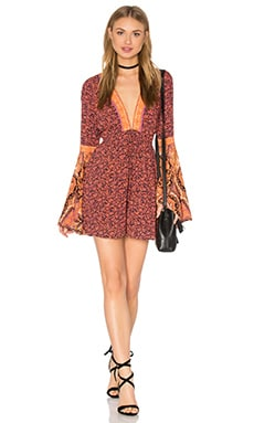 Free People Once Upon A Summertime Romper in Orange Combo