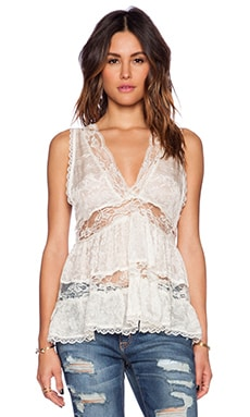 Free People Deep V Trapeze Cami in Cream