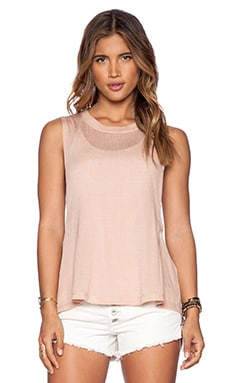 Free People Twist Back Tank in Peach Combo