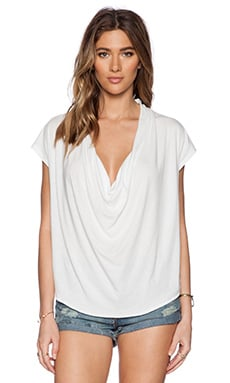 Free People Fantasy Cowl Neck Tee in Ivory