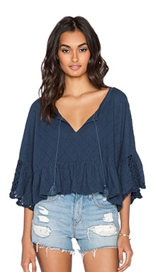 Free People Sweet Talker Top in Navy