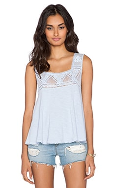 Free People Costa Mesh Tank in Angel Blue