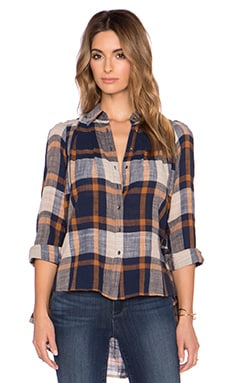 Free People Peppy In Plaid Button Up Top in Navy Combo