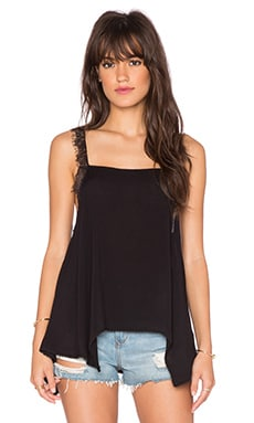 Free People Dobby Dot & Lace Delicate Sides Cami in Black