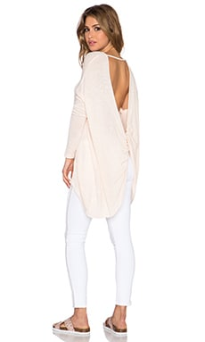Free People Shadows Hacci Twist Back Top in Alabaster Combo