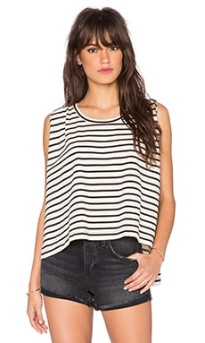 Free People Madness Stripe Muscle Top in Ivory & Black