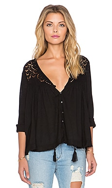 Free People Doin' It Right Blouse in Black