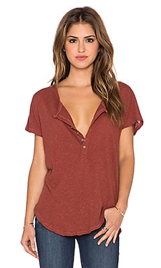 Free People Weekend Henley Tee in Tuscan Red