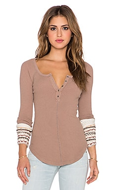 Free People Ski Lodge Cuff Thermal in Mushroom Combo