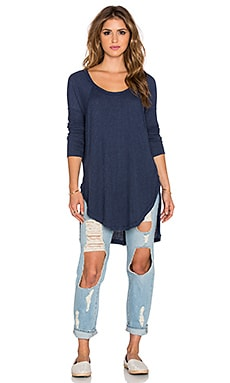 Free People Ventura Thermal Tee in Navy Heather