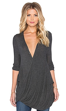 Free People Miss Rose Blouse in Dark Grey Heather