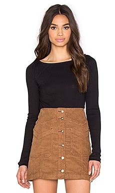 Free People Mara Rib Top in Black