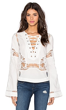 Free People Bittersweet Lace Up Top in White