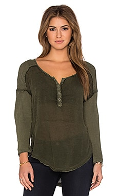 Free People Sunday Henley Top in Dark Olive