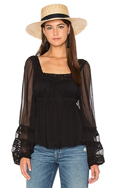 Moonchaser Peasant Top in Black