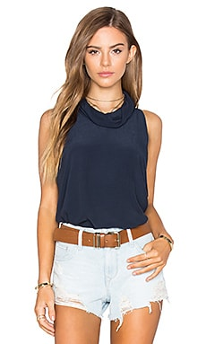 Free People City Lights Cowl Top in Blue