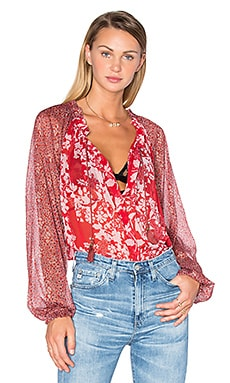 Free People Hendrix Printed Top in Red