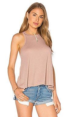 Free People Rayon Slub Long Beach Tank in Neutral
