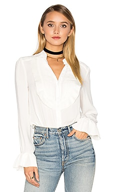 Ruffle Pintuck All Shook Up Top en Ivory
