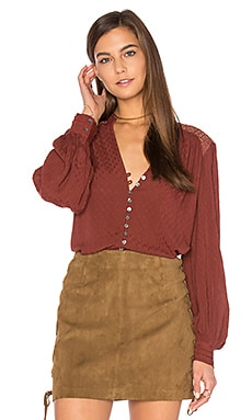 Canyon Rose Button Down Top in Red