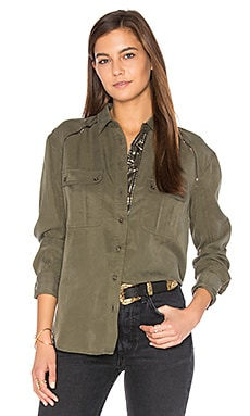 Off Campus Button Down Top in Moss