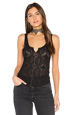 Piece Dye Pucker Lace Cami in Black