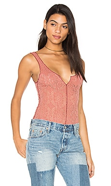 Grmt Dye Pucker Lace Notch Cami in Terracotta