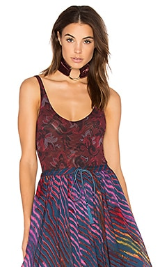 Printed So Fresh Bodysuit en Framboise