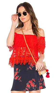 Sweet Dreams Lace Crop Top in Bright Red